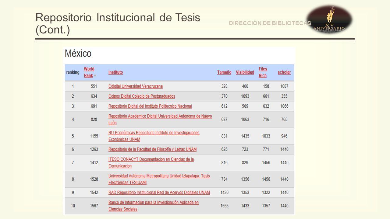 Repositorio Institucional de Tesis (Cont.) DIRECCIÓN DE BIBLIOTECAS