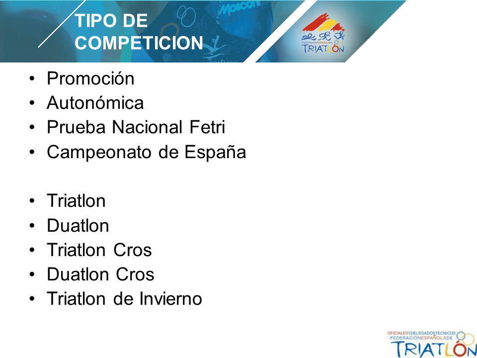 Promoción Autonómica Prueba Nacional Fetri Campeonato de España Triatlon Duatlon Triatlon Cros Duatlon Cros Triatlon de Invierno TIPO DE COMPETICION