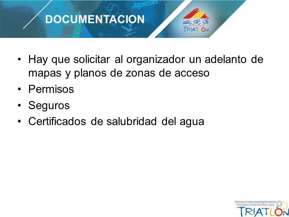 Hay que solicitar al organizador un adelanto de mapas y planos de zonas de acceso Permisos Seguros Certificados de salubridad del agua DOCUMENTACION