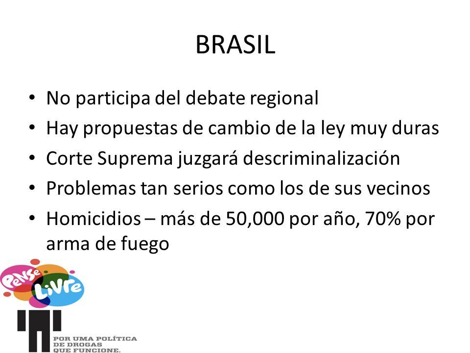 BRASIL No participa del debate regional Hay propuestas de cambio de la ley muy duras Corte Suprema juzgará descriminalización Problemas tan serios como los de sus vecinos Homicidios – más de 50,000 por año, 70% por arma de fuego