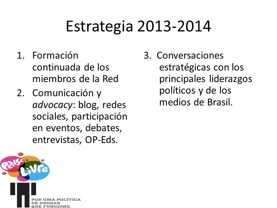 Estrategia 2013-2014 1.Formación continuada de los miembros de la Red 2.Comunicación y advocacy: blog, redes sociales, participación en eventos, debates, entrevistas, OP-Eds.