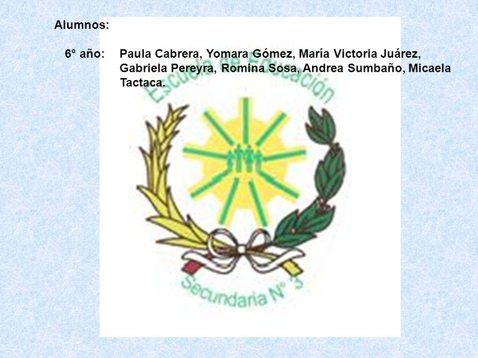 Paula Cabrera, Yomara Gómez, María Victoria Juárez, Gabriela Pereyra, Romina Sosa, Andrea Sumbaño, Micaela Tactaca. 6° año: Alumnos: