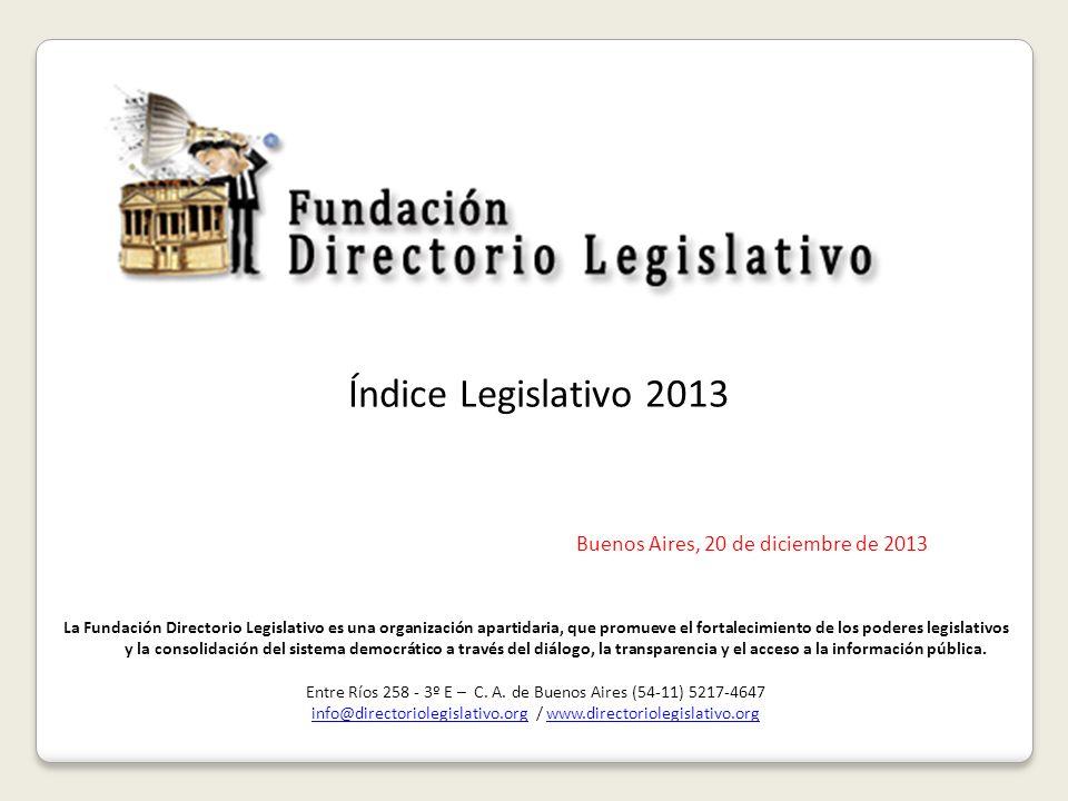 Índice Legislativo 2013 Buenos Aires, 20 de diciembre de 2013 La Fundación Directorio Legislativo es una organización apartidaria, que promueve el fortalecimiento de los poderes legislativos y la consolidación del sistema democrático a través del diálogo, la transparencia y el acceso a la información pública.