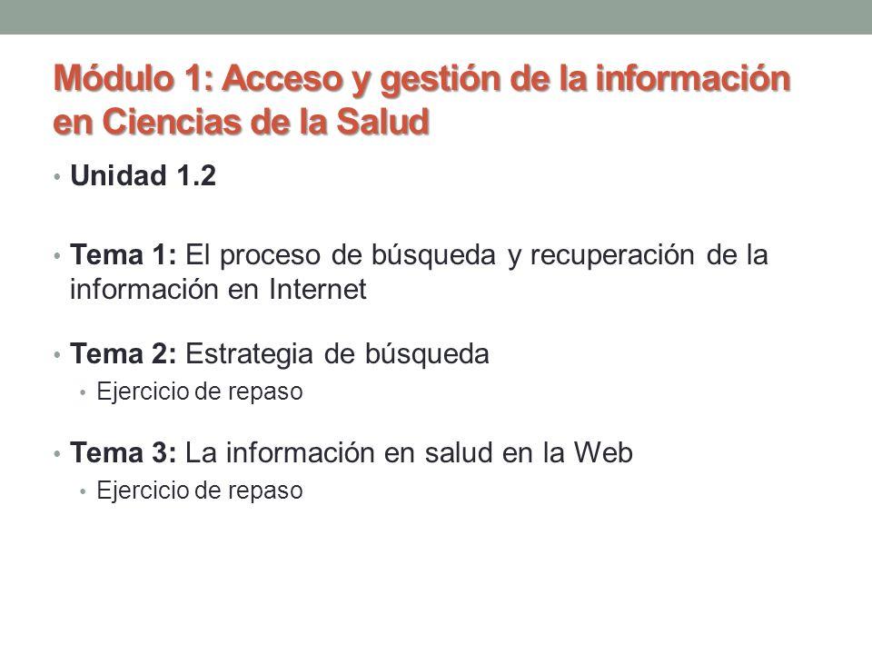 Unidad 1.2 Tema 1: El proceso de búsqueda y recuperación de la información en Internet Tema 2: Estrategia de búsqueda Ejercicio de repaso Tema 3: La i