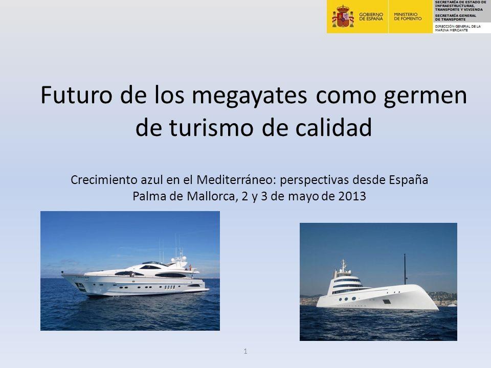 Futuro de los megayates como germen de turismo de calidad Crecimiento azul en el Mediterráneo: perspectivas desde España Palma de Mallorca, 2 y 3 de mayo de 2013 1