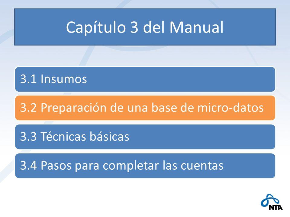 Capítulo 3 del Manual 3.1 Insumos3.2 Preparación de una base de micro-datos3.3 Técnicas básicas3.4 Pasos para completar las cuentas