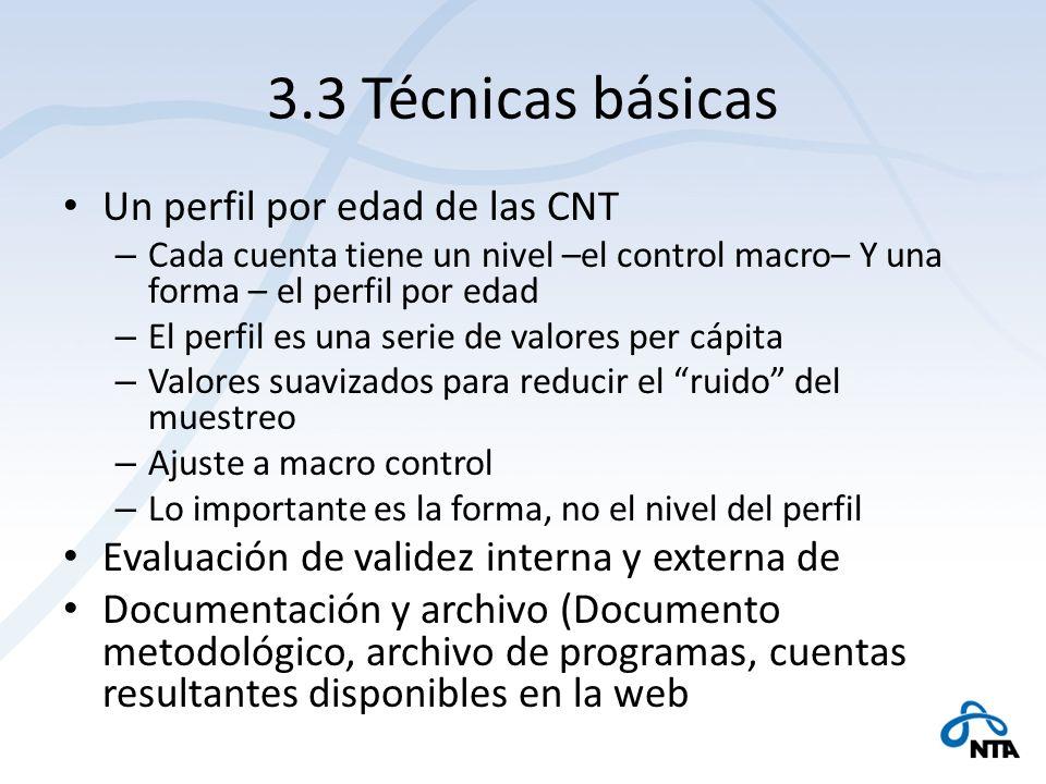 3.3 Técnicas básicas Un perfil por edad de las CNT – Cada cuenta tiene un nivel –el control macro– Y una forma – el perfil por edad – El perfil es una serie de valores per cápita – Valores suavizados para reducir el ruido del muestreo – Ajuste a macro control – Lo importante es la forma, no el nivel del perfil Evaluación de validez interna y externa de Documentación y archivo (Documento metodológico, archivo de programas, cuentas resultantes disponibles en la web
