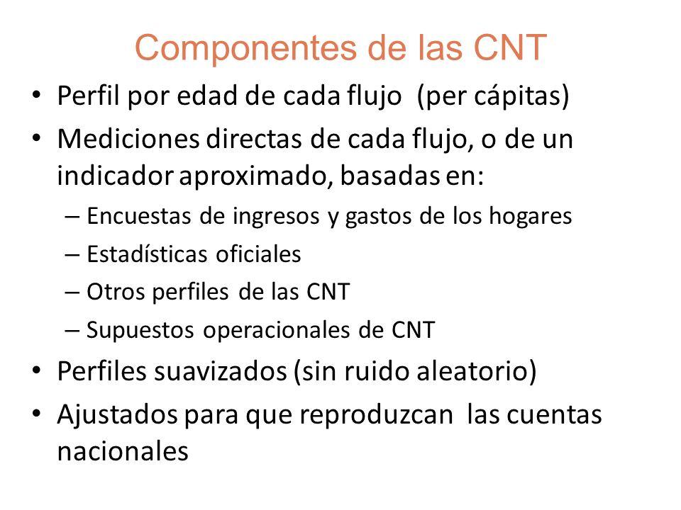 Las CNT y el Sistema de Cuentas Nacionales (SCN) La coherencia con el SCN es esencial Pueden considerarse como cuentas satelites ~Desagregación por edades del sistema de cuentas nacionales Las CNT miden algunos flujos que no están en el SCN: las transferencias generacionales dentro del hogar No miden actividades fuera del mercado