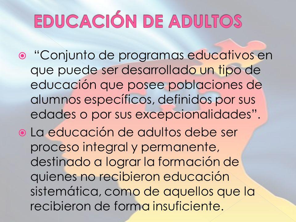 Conjunto de programas educativos en que puede ser desarrollado un tipo de educación que posee poblaciones de alumnos específicos, definidos por sus edades o por sus excepcionalidades.