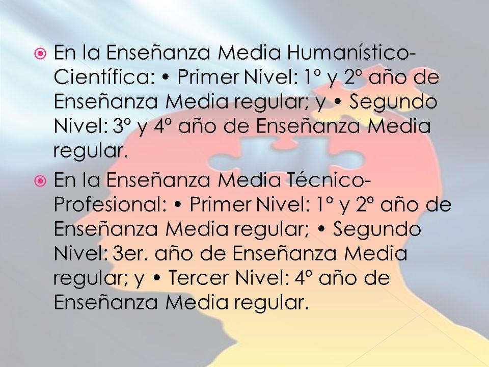 En la Enseñanza Media Humanístico- Científica: Primer Nivel: 1º y 2º año de Enseñanza Media regular; y Segundo Nivel: 3º y 4º año de Enseñanza Media regular.