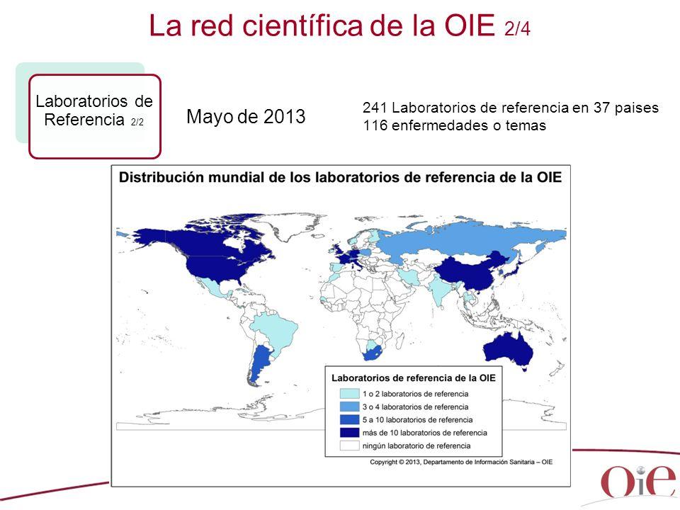 24 La red científica de la OIE 2/4 Laboratorios de Referencia 2/2 241 Laboratorios de referencia en 37 paises 116 enfermedades o temas Mayo de 2013
