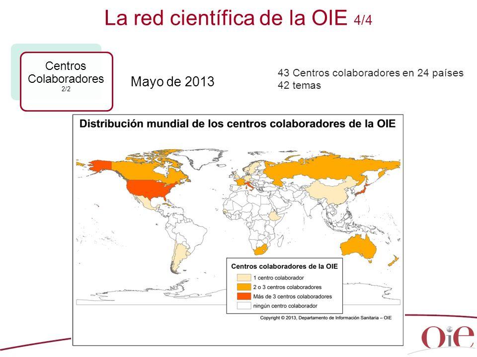 26 La red científica de la OIE 4/4 Centros Colaboradores 2/2 43 Centros colaboradores en 24 países 42 temas Mayo de 2013