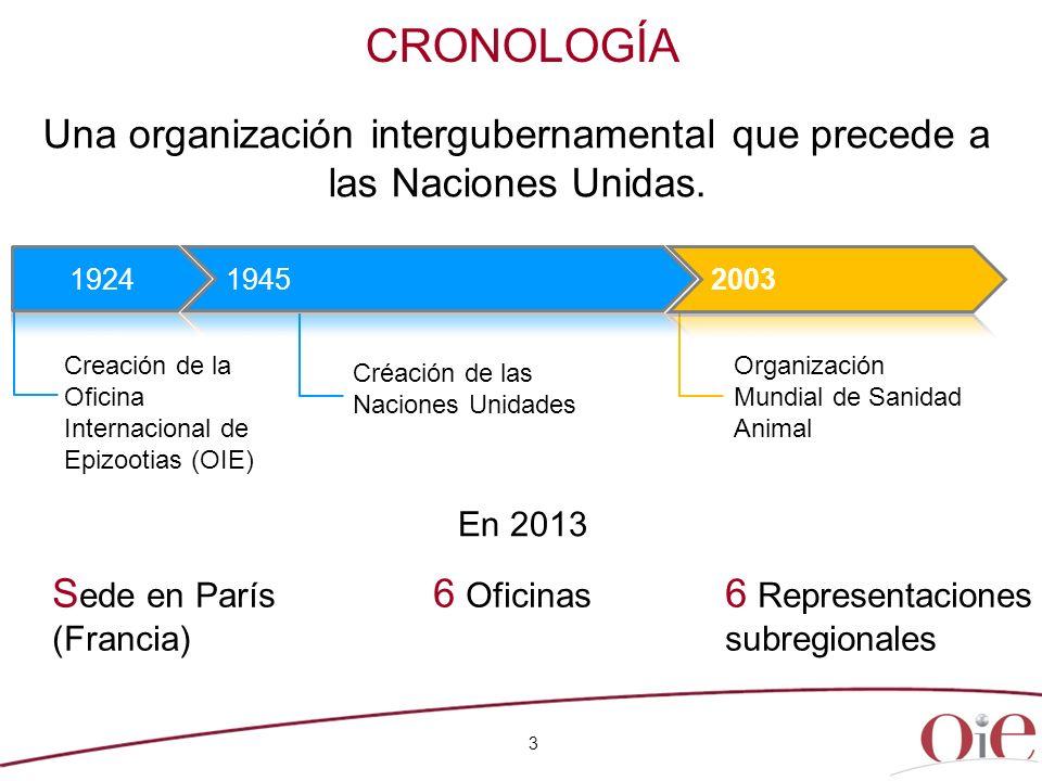 CRONOLOGÍA S ede en París (Francia) 6 Oficinas ionales 6 Representaciones subregionales Una organización intergubernamental que precede a las Naciones