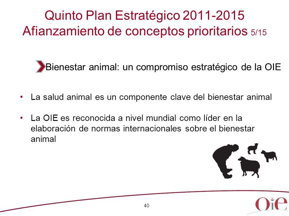 40 Quinto Plan Estratégico 2011-2015 Afianzamiento de conceptos prioritarios 5/15 La salud animal es un componente clave del bienestar animal La OIE e