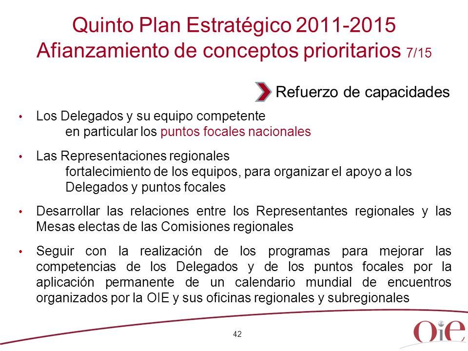 42 Quinto Plan Estratégico 2011-2015 Afianzamiento de conceptos prioritarios 7/15 Los Delegados y su equipo competente en particular los puntos focale
