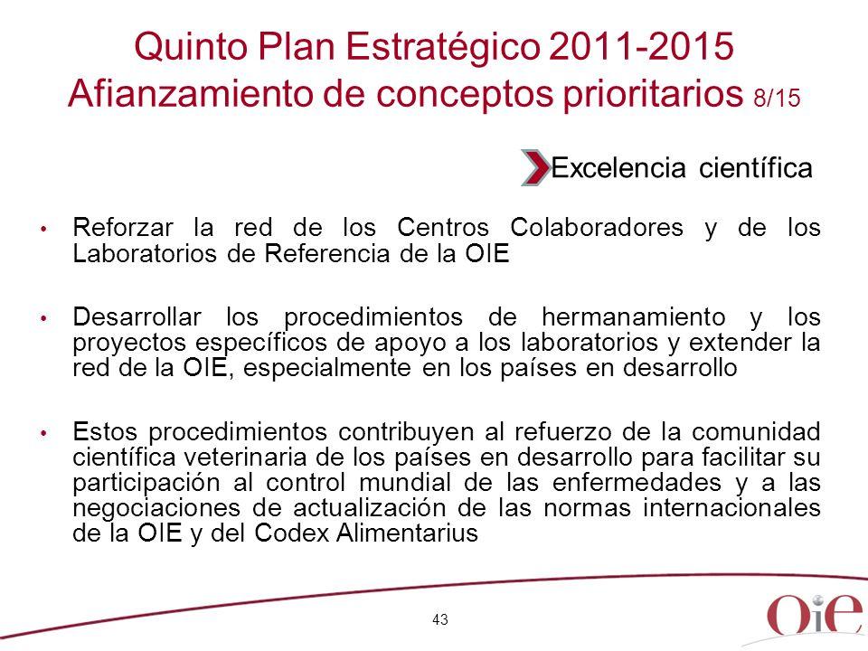 43 Quinto Plan Estratégico 2011-2015 Afianzamiento de conceptos prioritarios 8/15 Reforzar la red de los Centros Colaboradores y de los Laboratorios d
