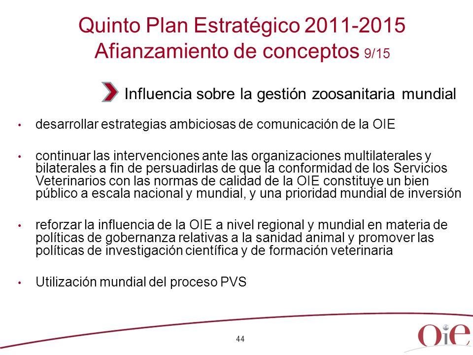 44 Quinto Plan Estratégico 2011-2015 Afianzamiento de conceptos 9/15 desarrollar estrategias ambiciosas de comunicación de la OIE continuar las interv
