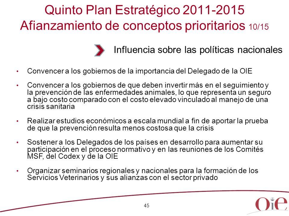45 Quinto Plan Estratégico 2011-2015 Afianzamiento de conceptos prioritarios 10/15 Convencer a los gobiernos de la importancia del Delegado de la OIE