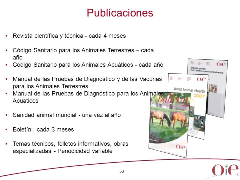 Publicaciones 53 Revista científica y técnica - cada 4 meses Código Sanitario para los Animales Terrestres – cada año Código Sanitario para los Animal