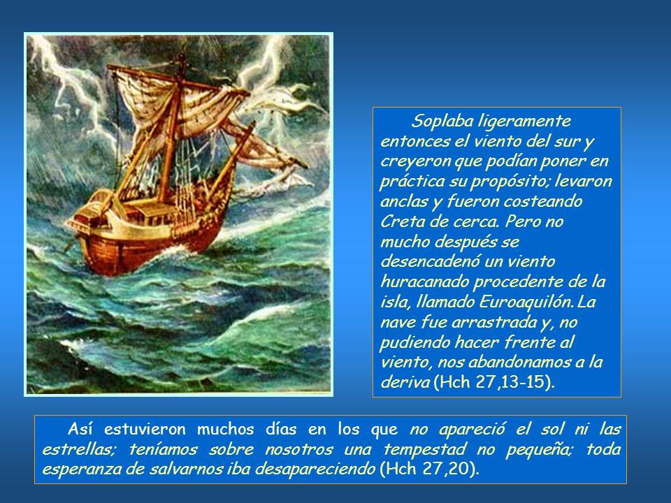 Lucas describe las diversas escalas del viaje: Sidón, donde se permitió a Pablo visitar la comunidad; Mira de Licia, donde cambian de nave; Puertos Buenos en Creta.