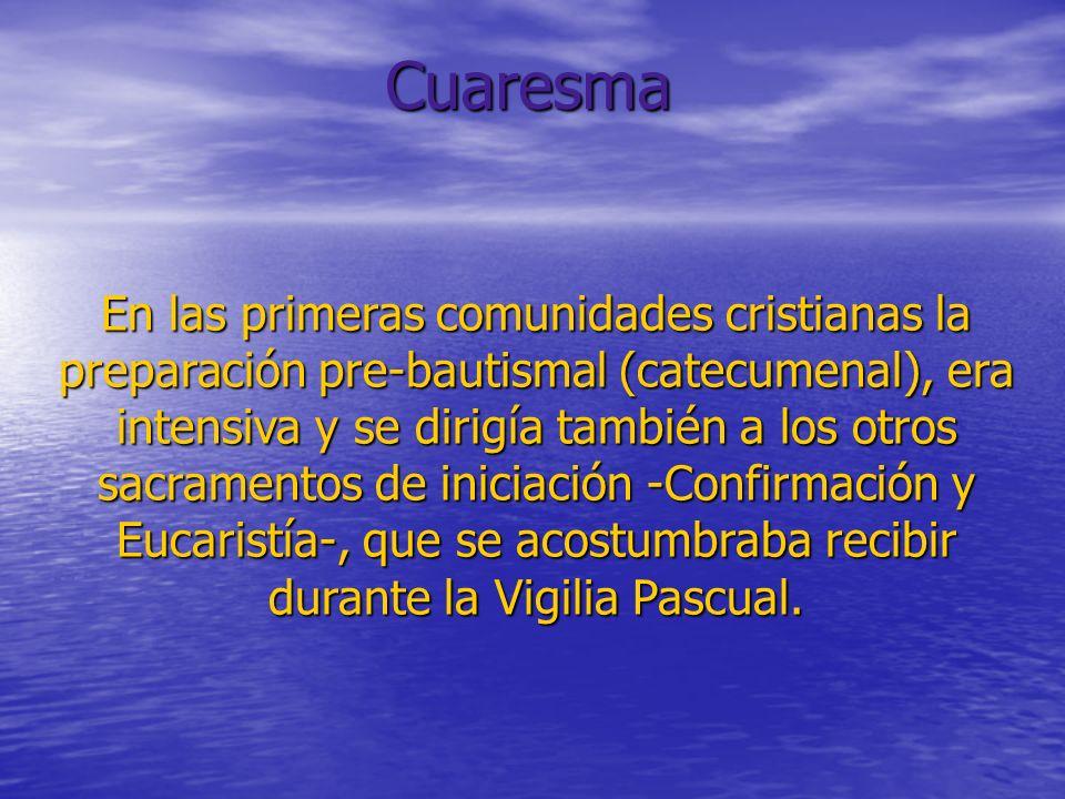 En las primeras comunidades cristianas la preparación pre-bautismal (catecumenal), era intensiva y se dirigía también a los otros sacramentos de iniciación -Confirmación y Eucaristía-, que se acostumbraba recibir durante la Vigilia Pascual.