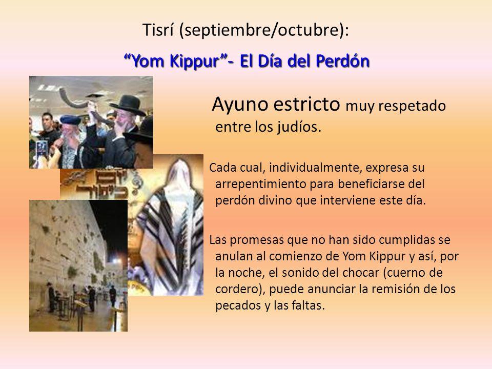 Yom Kippur- El Día del Perdón Tisrí (septiembre/octubre): Yom Kippur- El Día del Perdón Ayuno estricto muy respetado entre los judíos. Cada cual, indi