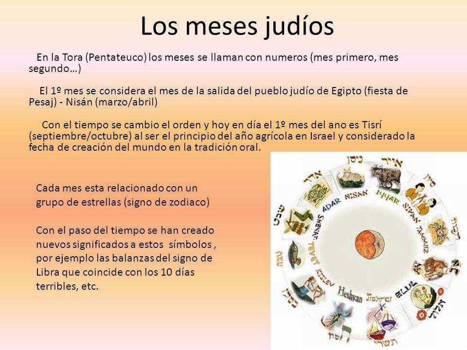 Los meses judíos En la Tora (Pentateuco) los meses se llaman con numeros (mes primero, mes segundo…) El 1º mes se considera el mes de la salida del pu
