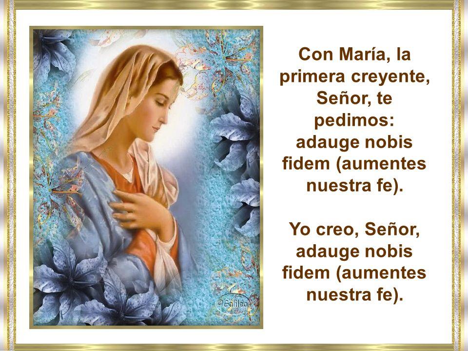 Con María, la primera creyente, Señor, te pedimos: adauge nobis fidem (aumentes nuestra fe).
