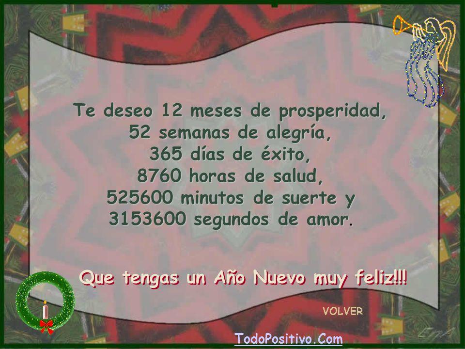 Te deseo 12 meses de prosperidad, 52 semanas de alegría, 365 días de éxito, 8760 horas de salud, 525600 minutos de suerte y 3153600 segundos de amor.