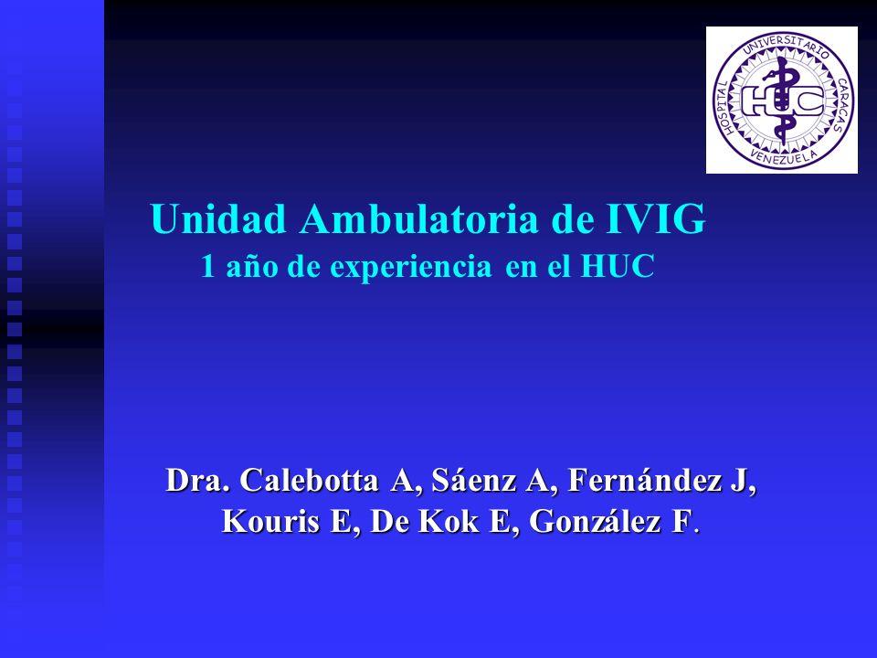 Unidad Ambulatoria de IVIG 1 año de experiencia en el HUC Dra. Calebotta A, Sáenz A, Fernández J, Kouris E, De Kok E, González F.