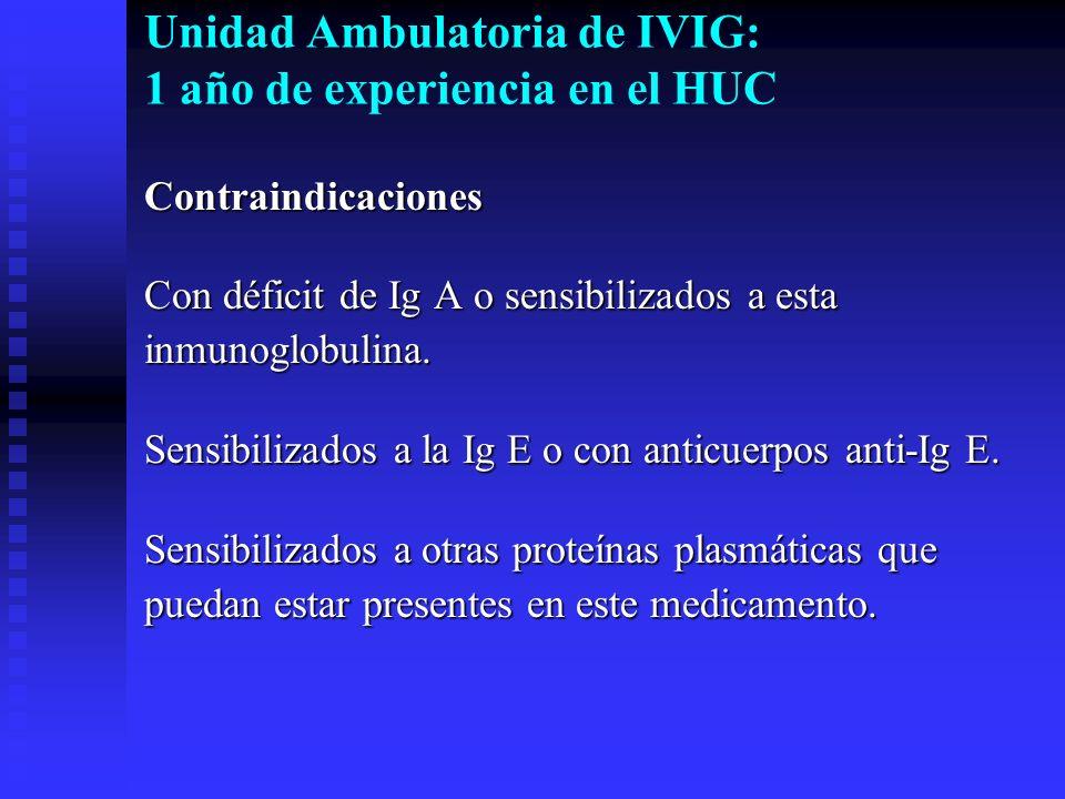 Unidad Ambulatoria de IVIG: 1 año de experiencia en el HUC Contraindicaciones Con déficit de Ig A o sensibilizados a esta inmunoglobulina. Sensibiliza