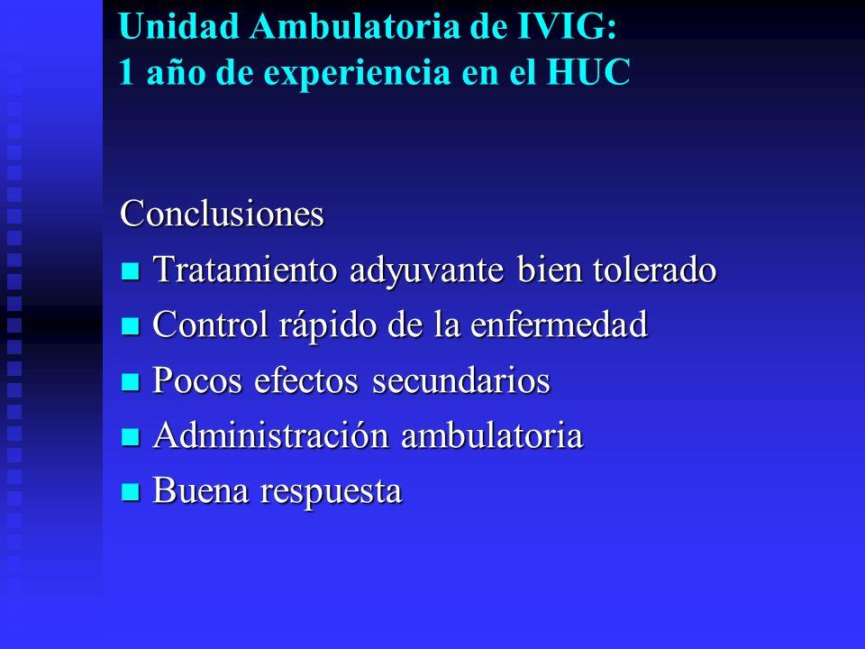 Unidad Ambulatoria de IVIG: 1 año de experiencia en el HUC Conclusiones Tratamiento adyuvante bien tolerado Tratamiento adyuvante bien tolerado Contro