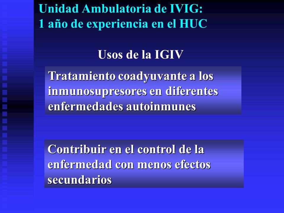 Unidad Ambulatoria de IVIG: 1 año de experiencia en el HUC Tratamiento coadyuvante a los inmunosupresores en diferentes enfermedades autoinmunes Contr