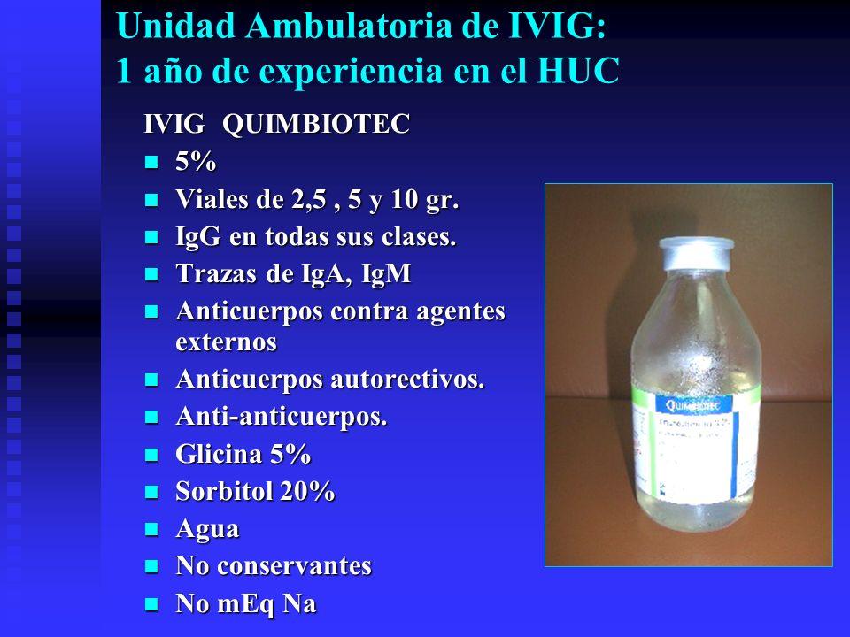 Unidad Ambulatoria de IVIG: 1 año de experiencia en el HUC IVIG QUIMBIOTEC 5% 5% Viales de 2,5, 5 y 10 gr. Viales de 2,5, 5 y 10 gr. IgG en todas sus
