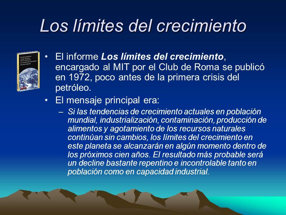 Los límites del crecimiento El informe Los límites del crecimiento, encargado al MIT por el Club de Roma se publicó en 1972, poco antes de la primera crisis del petróleo.