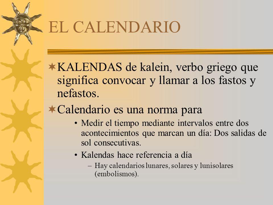EL CALENDARIO KALENDAS de kalein, verbo griego que significa convocar y llamar a los fastos y nefastos.