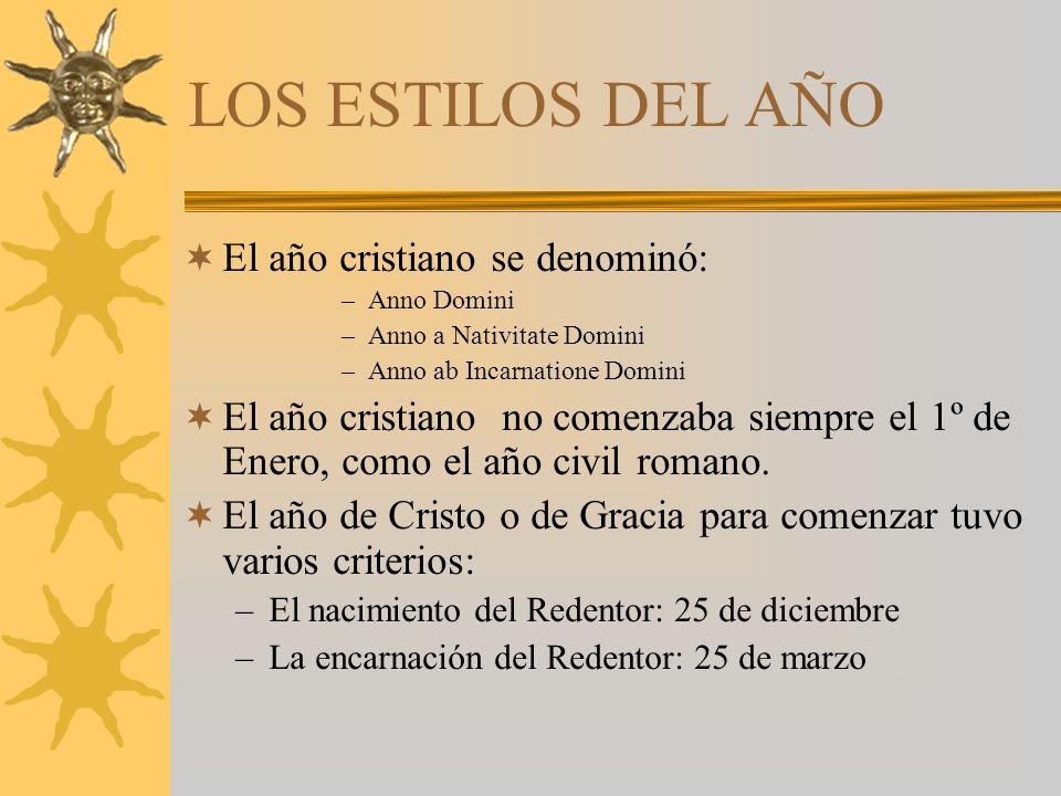 LOS ESTILOS DEL AÑO El año cristiano se denominó: –Anno Domini –Anno a Nativitate Domini –Anno ab Incarnatione Domini El año cristiano no comenzaba siempre el 1º de Enero, como el año civil romano.
