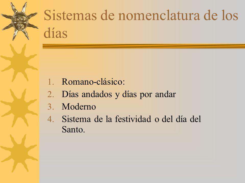 Sistemas de nomenclatura de los días 1. Romano-clásico: 2.