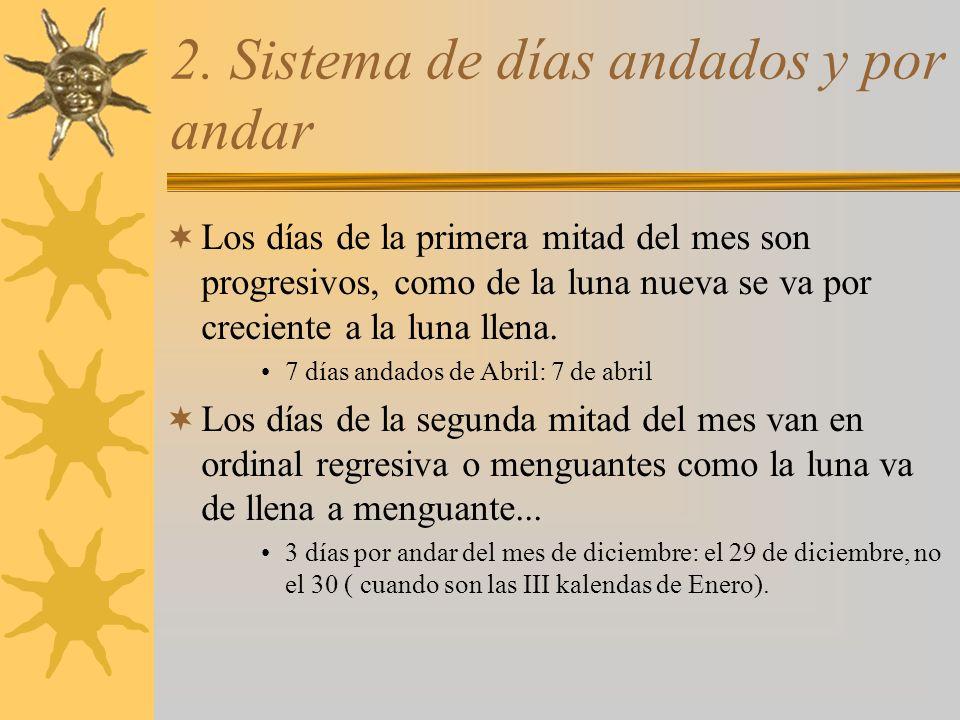 3.Sistema moderno Se indicaban todos los días del mes con ordinal progresivo.