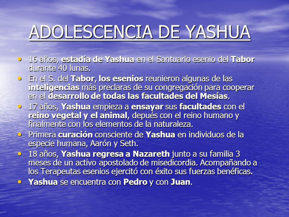 INFANCIA DE YASHUA - 10 años Yashua conoce a Pedro (24 años) en el S. del Tabor. - 12 años, primer viaje a Jerusalén, nacimiento de Juan Evangelista e