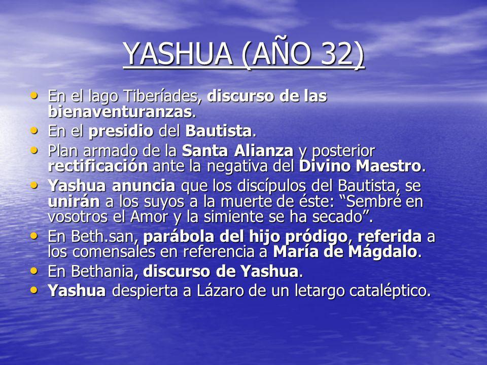 YASHUA (AÑO 31) El año 31, Yashua lo pasa casi todo en el Lago de Galilea, en la margen occidental. El año 31, Yashua lo pasa casi todo en el Lago de