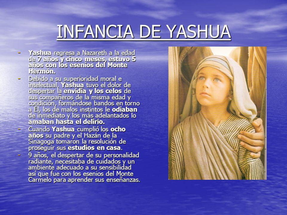 INFANCIA DE YASHUA - Yashua regresa a Nazareth a la edad de 7 años y cinco meses, estuvo 5 años con los esenios del Monte Hermón.