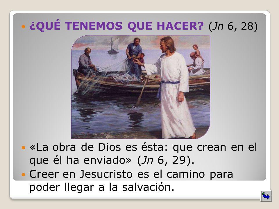 ¿QUÉ TENEMOS QUE HACER? (Jn 6, 28) «La obra de Dios es ésta: que crean en el que él ha enviado» (Jn 6, 29). Creer en Jesucristo es el camino para pode