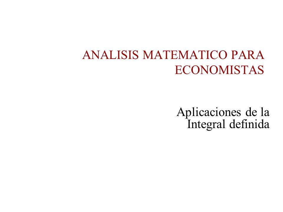 Aplicaciones de la Integral definida ANALISIS MATEMATICO PARA ECONOMISTAS