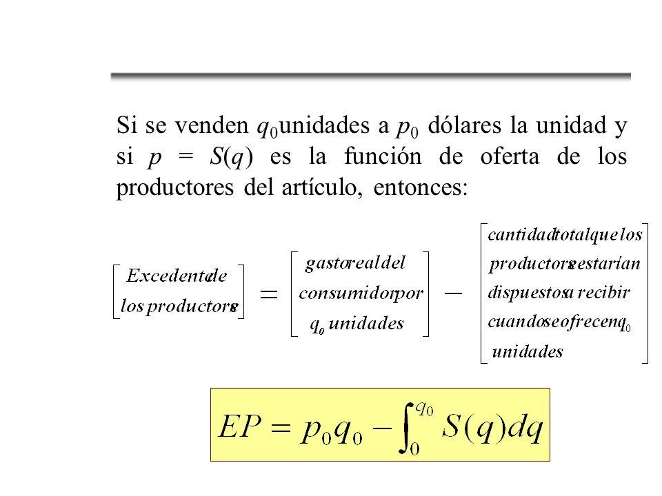 Si se venden q 0 unidades a p 0 dólares la unidad y si p = S(q) es la función de oferta de los productores del artículo, entonces: