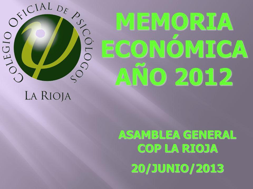 MEMORIA ECONÓMICA AÑO 2012 ASAMBLEA GENERAL COP LA RIOJA 20/JUNIO/2013