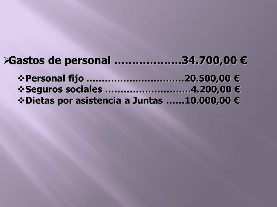 Gastos de personal ……………….34.700,00 Gastos de personal ……………….34.700,00 Personal fijo ……………..……………20.500,00 Personal fijo ……………..……………20.500,00 Seguros sociales ……………………….4.200,00 Seguros sociales ……………………….4.200,00 Dietas por asistencia a Juntas ……10.000,00 Dietas por asistencia a Juntas ……10.000,00