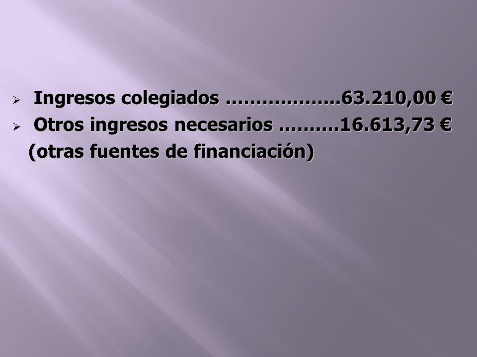 Ingresos colegiados..……………..63.210,00 Ingresos colegiados..……………..63.210,00 Otros ingresos necesarios.………16.613,73 Otros ingresos necesarios.………16.613,73 (otras fuentes de financiación) (otras fuentes de financiación)