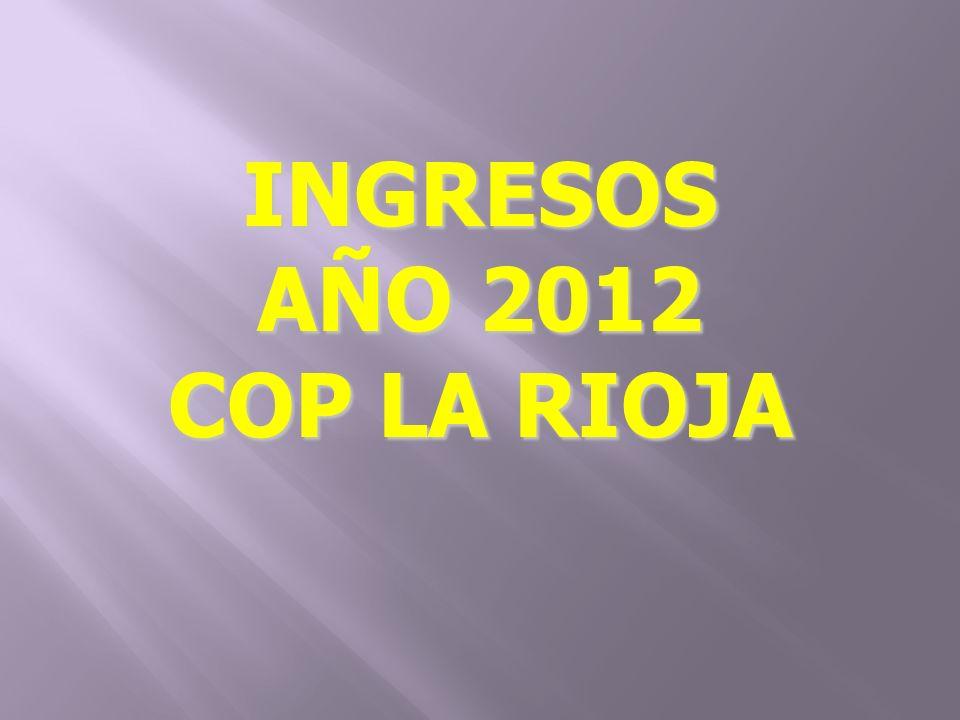 INGRESOS AÑO 2012 COP LA RIOJA