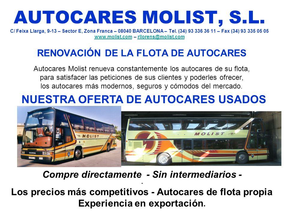 AUTOCARES MOLIST, S.L. C/ Feixa Llarga, 9-13 – Sector E, Zona Franca – 08040 BARCELONA – Tel. (34) 93 336 36 11 – Fax (34) 93 335 05 05 www.molist.com